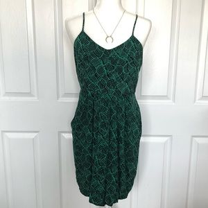 Dresses & Skirts - Black and green printed dress with pockets!